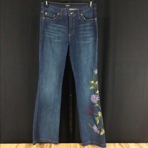 Karen Kane Floral Embroidered Bootcut Jeans 30x34